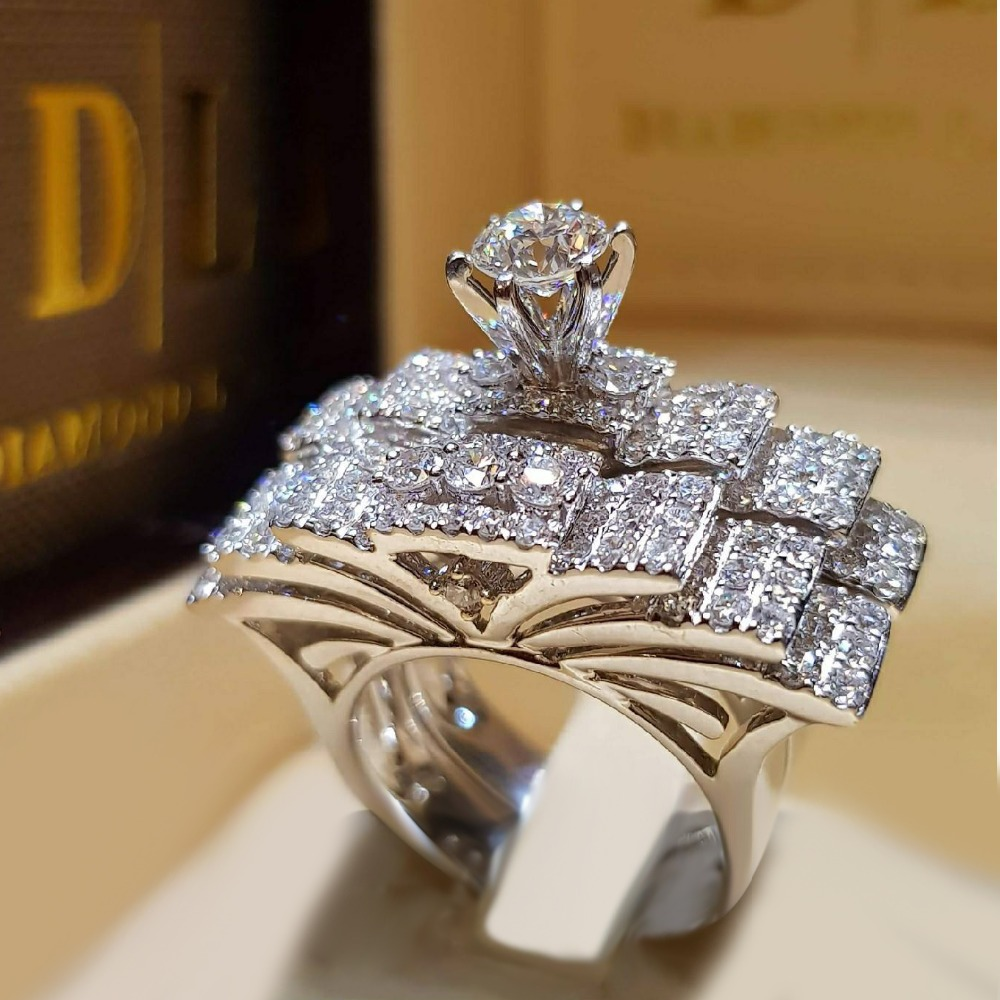 Brand Cute Female Crystal White Round Ring Set Luxury 925