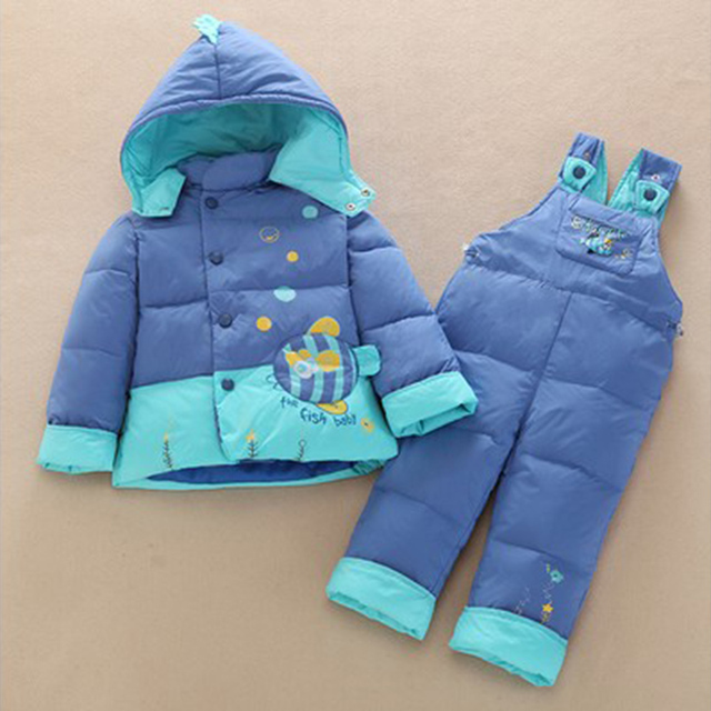 children boy clothes girl winter coat kid Warm jacket suit set Duck Down Hooded Outerwear Parkas With Pants Suit  Baby Clothing