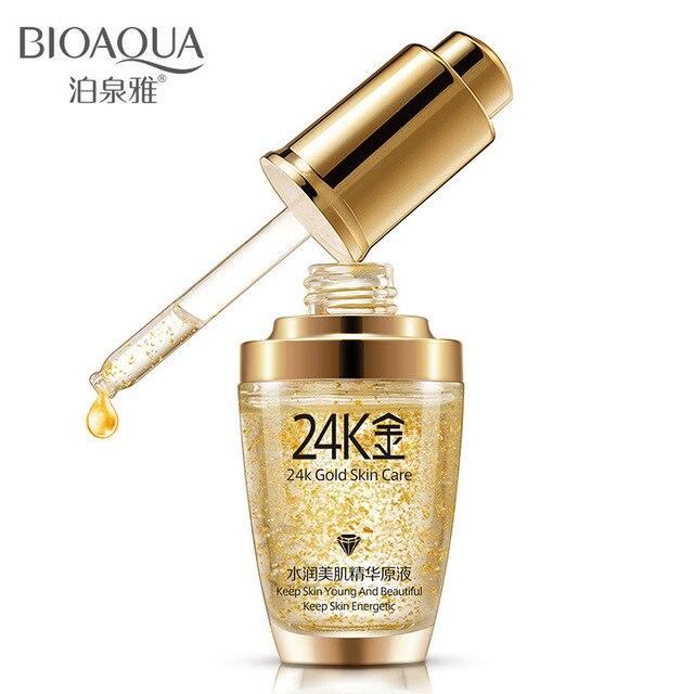 BIOAQUA 24 k Ouro Rosto Soro Hidratante Essência Creme de Dia Branqueamento Cremes Anti Envelhecimento Anti Rugas Reafirmante elevador Cuidados Com A Pele