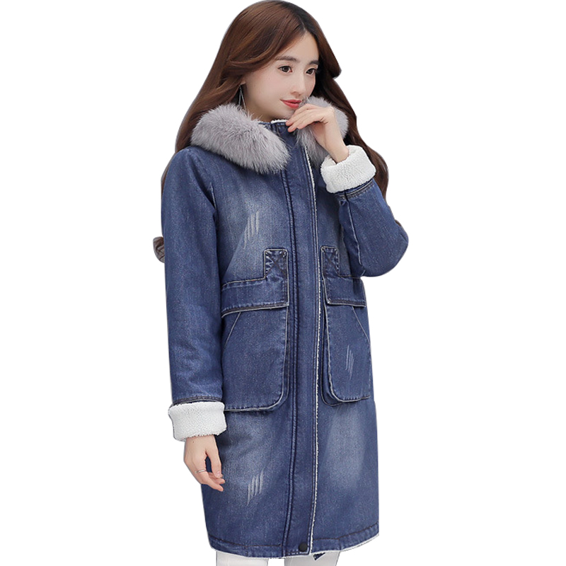 2016 New Fashion Denim Jacket Winter Fox Fur Collar Long Coat Oversize Thicken Warm Padded Cotton Women Coat Blue Color Ts1401 2017 winter new clothes to overcome the coat of women in the long reed rabbit hair fur fur coat fox raccoon fur collar