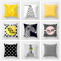 Geometria nórdico capa de almofada abstrato amarelo fronha preto e branco zebra decorativo poliéster capas para sofá decoração da sua casa|Capa de almofada|   -
