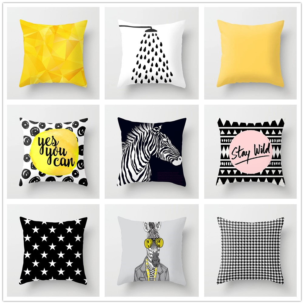Nordic Geometry Cushion Cover Abstract Yellow Pillowcase Black And White Zebra Decorative Polyester Covers For Sofa Home Decor