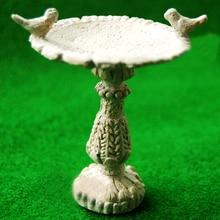 1:12 Dollhouse Miniature Gray Bird Bath Fountain Fairy Garde