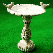 1:12 Dollhouse Miniature Gray Bird Bath Fountain Fairy Garden Decorati