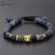 Braided Bracelet Leopard Beaded Owl-Head Natural-Stone Gold Amader Wholesale Women