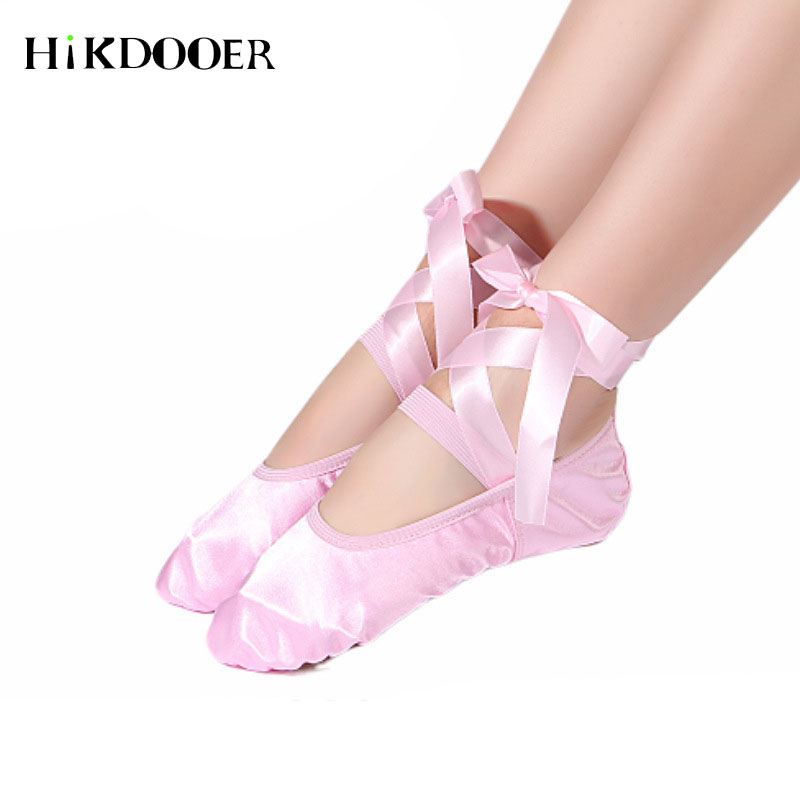 2019 Girl Ballet Shoes With Ribbon Satin Comfort Dance Ballet Shoes For Kids Children Professional Ballet Points Shoes