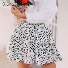Sollinarry Red Ruffles Leopard Summer Skirts Women NEW Sexy Boho Mini Skirts Retro Casual A Line High Waist Girls Short Skirts
