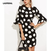 LASPERAL 2017 Big Dots Print Flare Sleeve font b Elegant b font Vintage Women font b