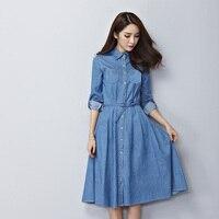 2017 Spring Summer Dress Blue Long Sleeve Denim Dress Korean Style Plus Size Long A Line