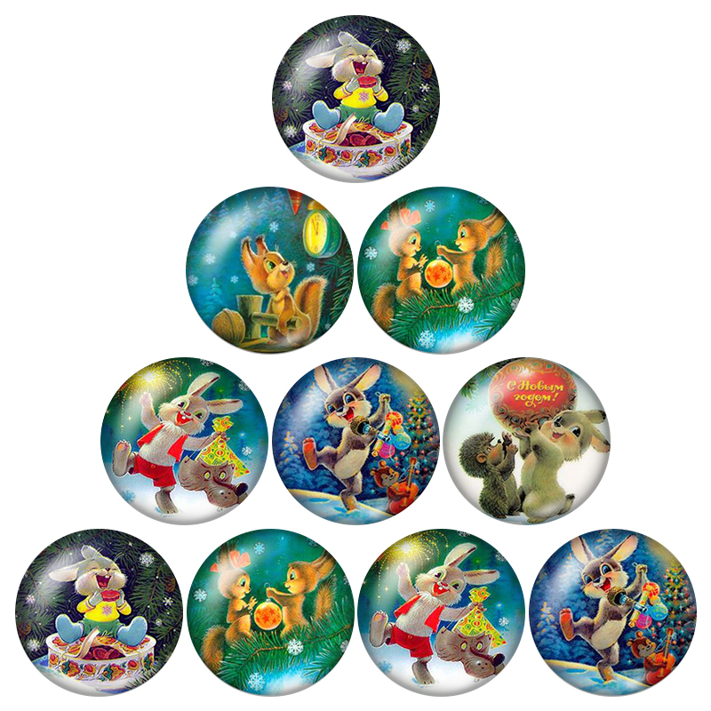 New Merry Christmas Photos Cartoons 10pcs 12mm/16mm/18mm/25mm Round photo glass cabochon demo flat back Making findings ZB0588