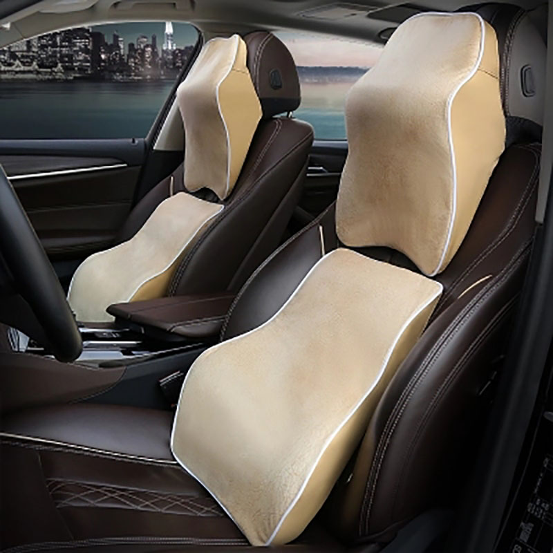 3D Breathable Car Headrest Neck Pillow Leather Auto Neck Protection Rest Pillows Auto Seat Waist Supports Cushion Memory Foam