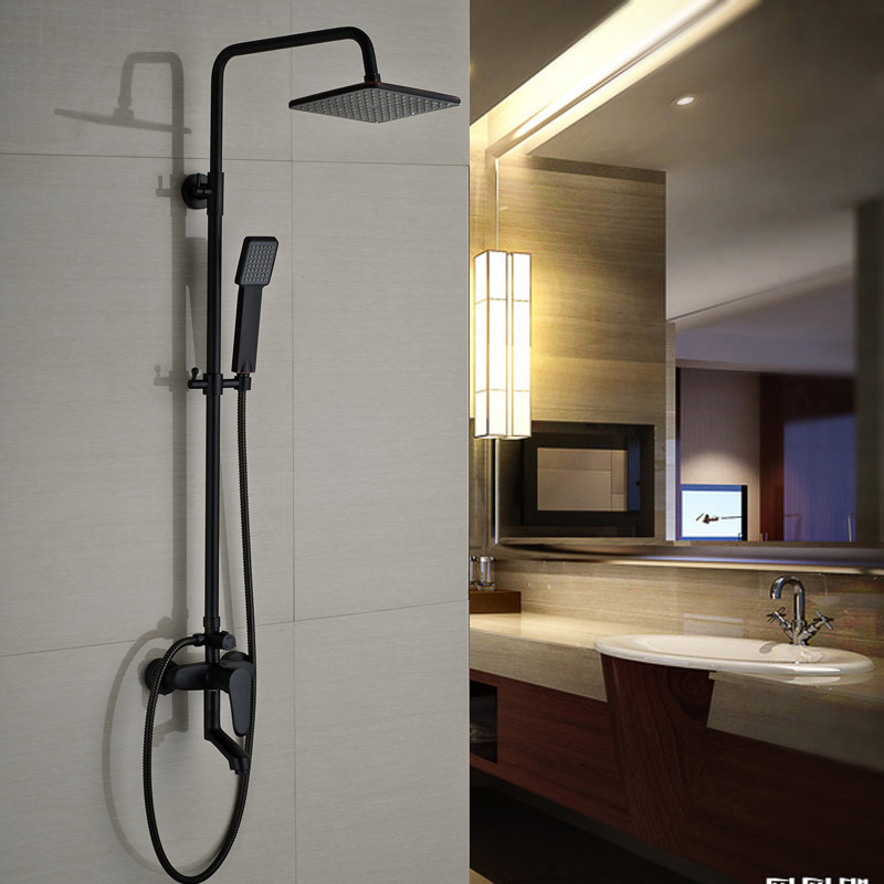 Oil Rubbed Bronze Black Shower Set Faucet Single Handle Bathroom Shower Column 8 Rainfall With