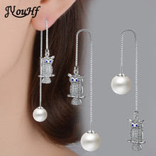 JYouHF 925 Sterling Silber Perle Ohrringe für Frauen Exquisite Mode Dame Eule Tier Angemeldet Drop Ohrringe Aretes Bijoux Femme(China)