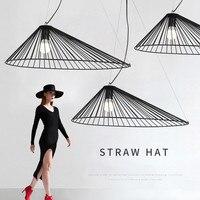 Art Decor suspension vertigo light Restaurant Bedroom Kitchen straw lamp E27 Bulb Hat Black lampe lustre nordic pendant light
