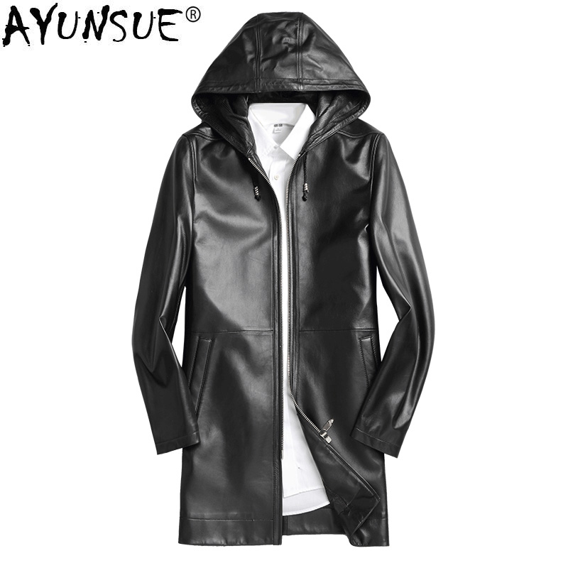AYUNSUE Leather Jacket Autumn Winter Jacket Men Genuine Sheepskin Coat Windbreaker Long Coat Chaqueta Hombre P-13-16173-1 MY1351