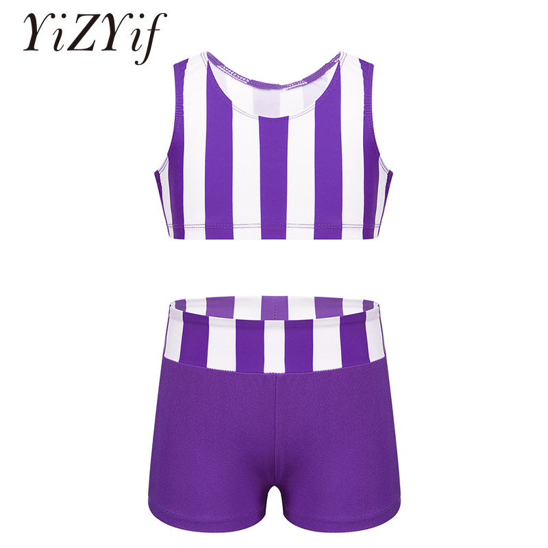 Kids Girls Ballet Dance Costumes Athletic Outfit Striped Sleeveless Tanks Crop Top With Bottoms Set For Ballet Dance Gym Workout