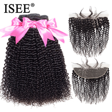 Peruvian Kinky Curly Bundles With Frontal Remy 13*4 Pre Plucked Lace Frontal ISEE HAIR Human Hair Bundles With Frontal
