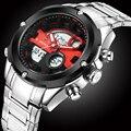 Роскошные Часы Мужчины Мода Марка Полный Нержавеющей Стали Водонепроницаемый Цифровой Аналоговый Спорт мужские Кварцевые Часы Relogio Masculino