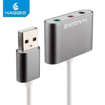 Hagibis External Sound Card Converter Splitter USB Adapter 3 Port Converter Headphone Microphone for PC Laptop Audio adapter Sound Cards