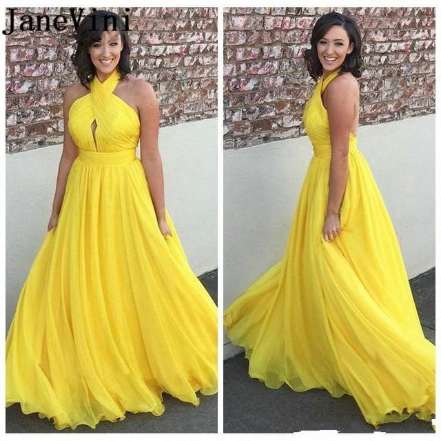 abf468e28973 En venta JaneVini amarillo vestidos noche largo 2019 trajes de ...