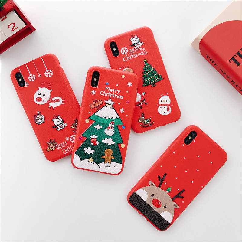 Santa Claus Elk Cute Cartoon Case For iPhone X XS Max XR 7 8 6 6S Lovely snowman Merry Christmas tree Lychee soft cover Fundas