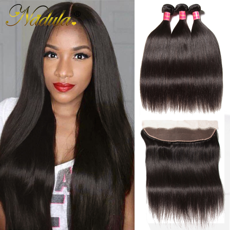 Nadula Hair 3 Bundles Straight Hair With Lace Frontal Closure 100 Human Hair Weave Bundles With