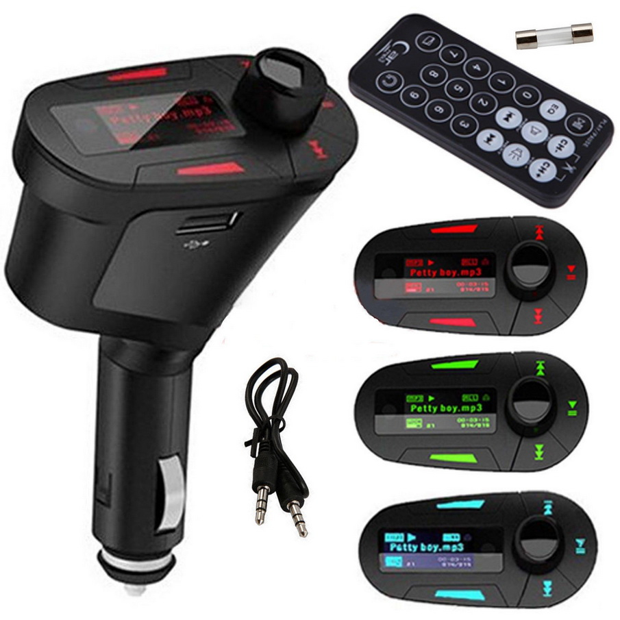 Nuevo 1 piezas de coche Kit de MP3 reproductor inalámbrico FM del modulador del transmisor USB LCD remoto roja Venta caliente