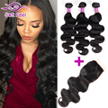 Queen Hair Brazilian Virgin Hair Body Wave With Closure 3 Bundles With Closure Wet And Wavy Virgin Brazilian Hair With Closure