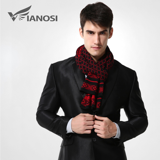 [VIANOSI] Brand Winter Scarf Men Chic Wool Plaid Knitted Scarf Fashion Designer Shawl Bussiness Casual Scarves MA008