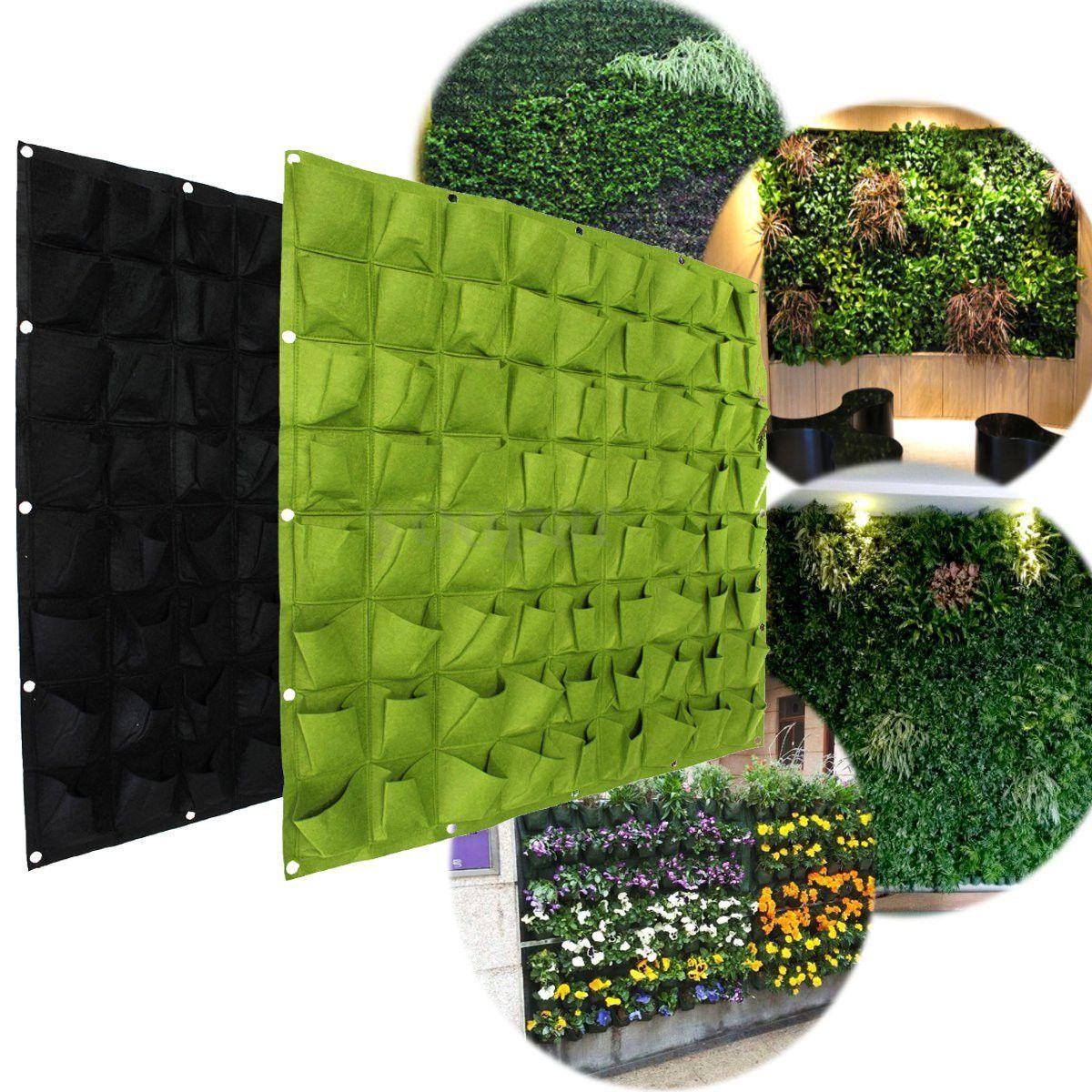 72 Wall Pockets Hanging Garden Wall Flower Planter Bag Indoor ...