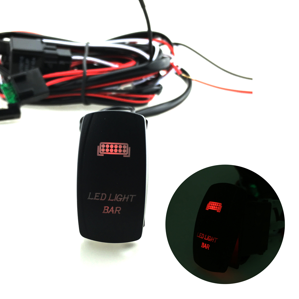 hight resolution of 12v led light bar laser rocker on off switch wiring harness 40a relay fuse red us99