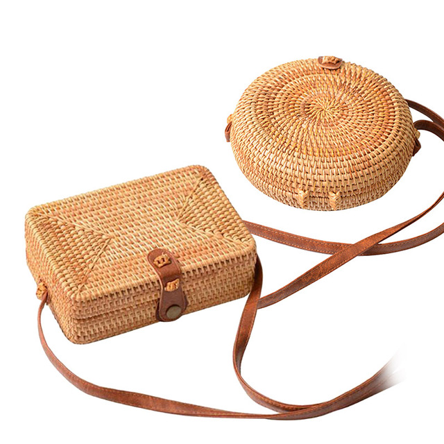 ddb78c5490b7 Handmade Rattan Woven Round Women Crossbody Bag Vintage Retro Straw Square Box  Messenger Bag Lady Summer