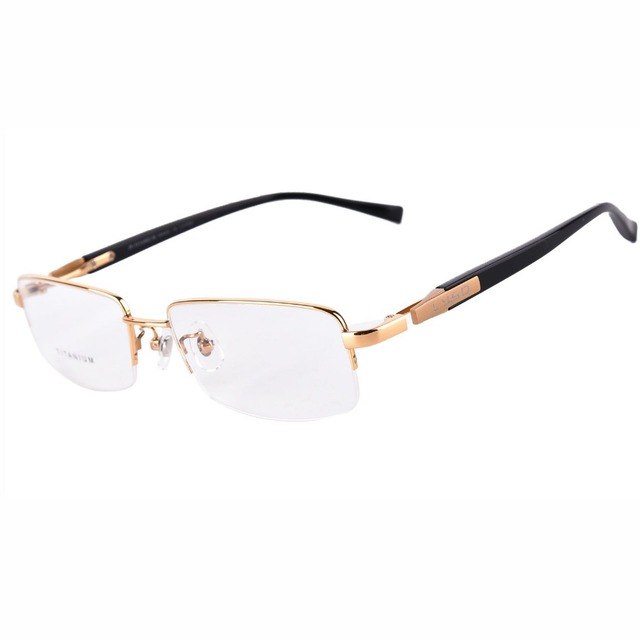 1b01a5f96ff Agstum 100% Pure Titanium Men s Optical Silver Grey Gunmetal Half Rimless  Prescription Eyeglasses Frame Clear Lens Spectacles Rx