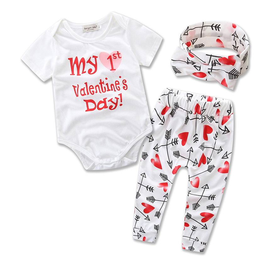 Retail Ins New Valentines Day Baby Girl Three Piece Sets Love Heart Arrow Bodysuit+Pants+Headband Children Clothing 0-2Y B1657 bicycle lpv love promise of vow poke valentines day gifts