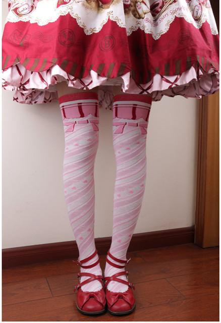 Princesa dulce lolita medias japonés lindo rayas espiral bowknot medias hasta la rodilla GXW74