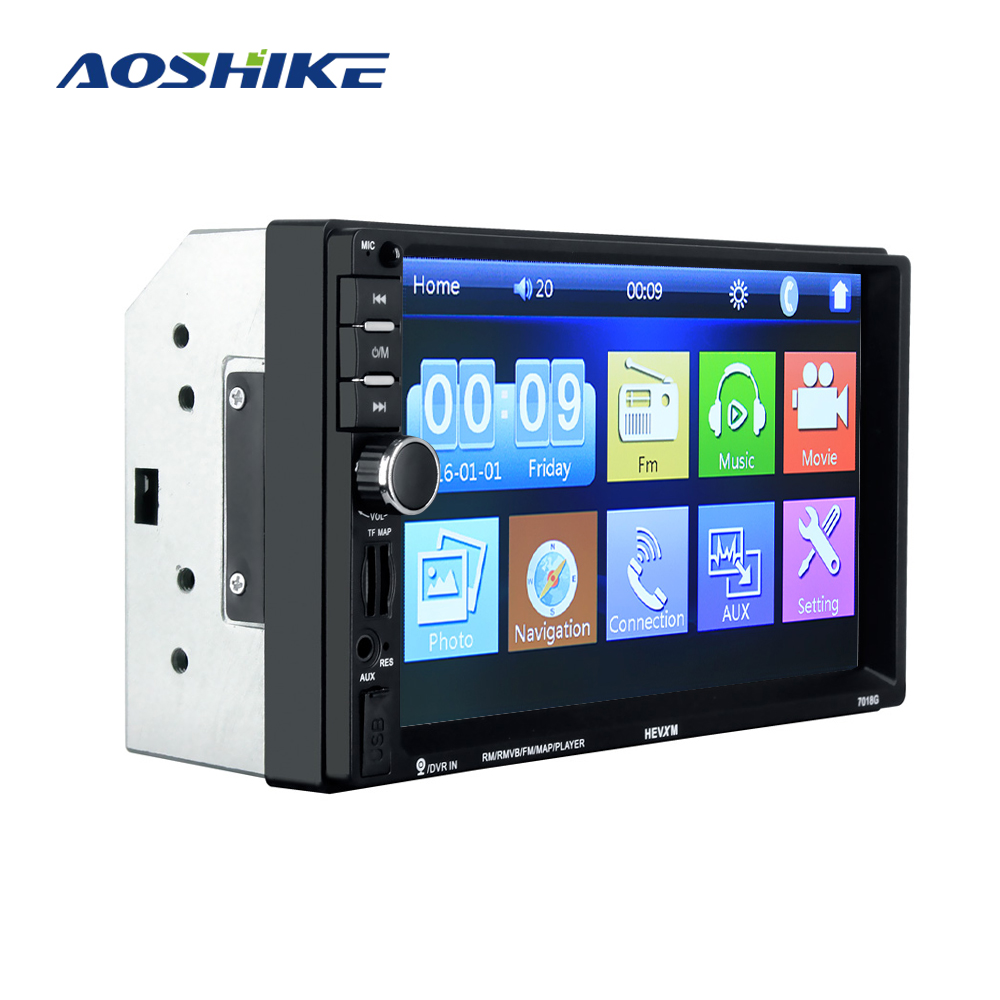 AOSHIKE Car Multimedia Player <font><b>GPS</b></font> 7 Inch 2 Din Car MP5 Bluetooth Card Machine With Steering Wheel Remote Control Reverse image image