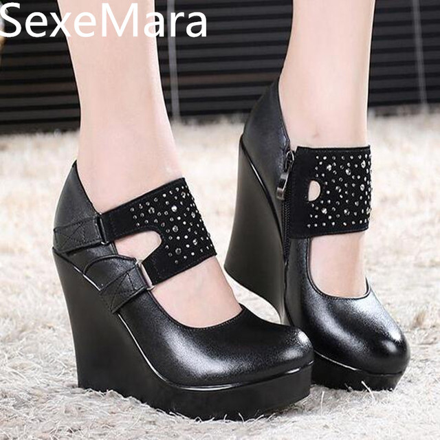SexeMara shoes genuine leather women high heels wedges pumps ...