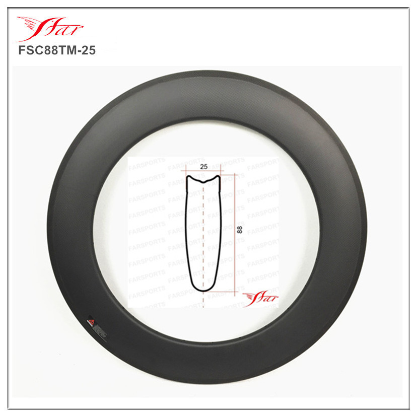 Disc brake Farsport FSL88-TM-25 Tubular 88mm 25 Japan Toray carbon fibre bike rim 88, 88mm height tubular cyclocross bike rim tm 25