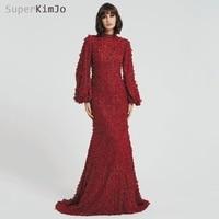 SuperKimJo с длинными рукавами бордового цвета элегантные вечерние платья арабский стиль Русалка 3D Цветы вечернее платье De Soiree
