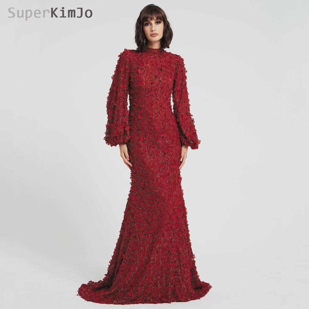 SuperKimJo Long Sleeve Burgundy Evening Dresses Elegant Arabic Style  Mermaid 3D Flowers Evening Gown Robe De Soiree 82bdd8ca4746
