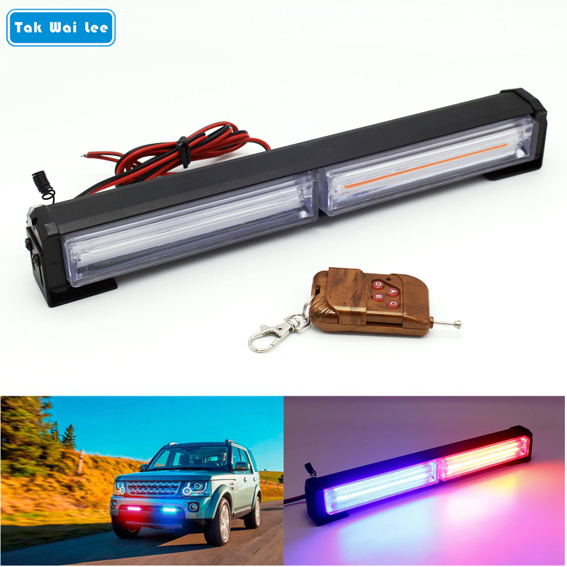 Tak Wai Lee IR Control Remot 40W COB LED Strobe Flash Warning Car Styling Light White Red Blue Yellow Police Emergency Lamp free shipping high power 72w car cob warning light car styling external emergency strobe light bar flash white lamp