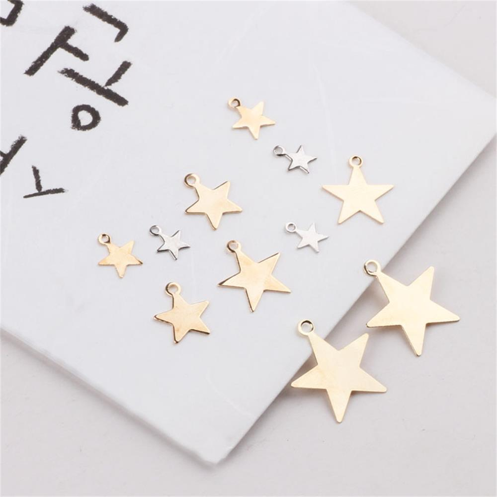 40 Pcs/bag Cooper (NOT IRON) Five-point Star Craft Charms DIY Necklace Earring Bracelet Charms  Jewelry Findings DIY Accessories