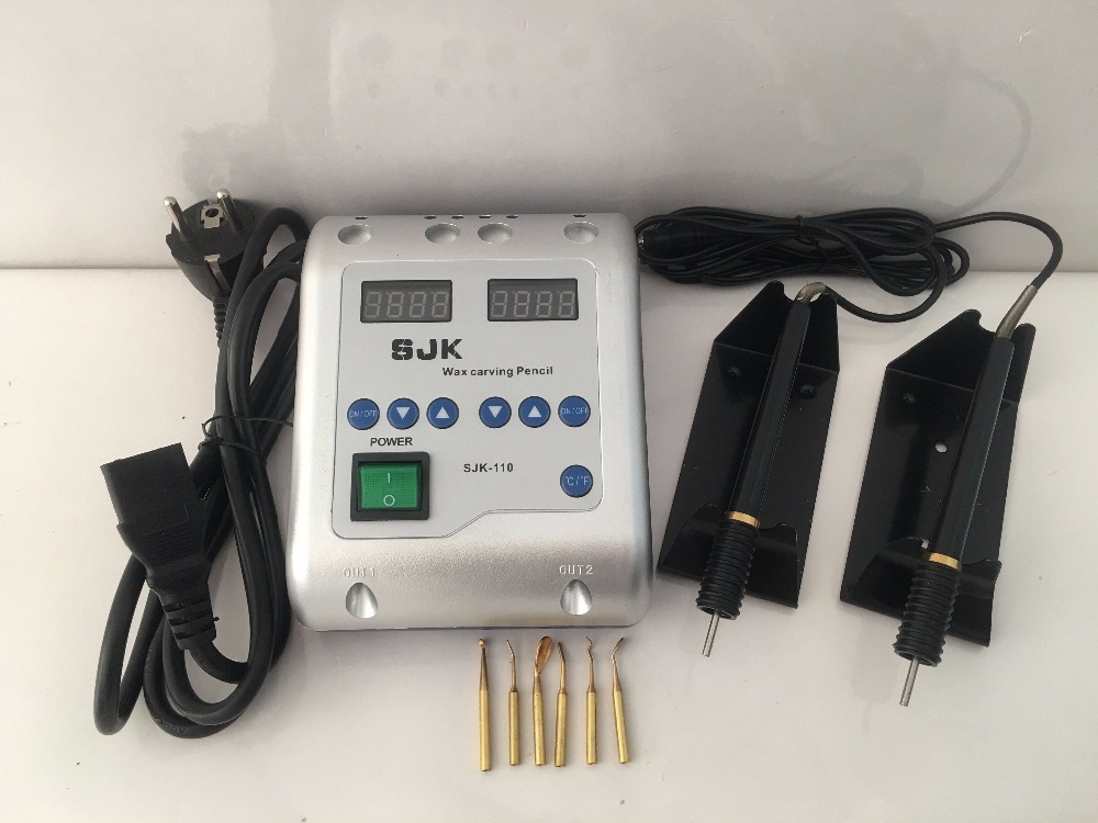 1set Dental Lab Equipment Electric Wax Carving Knife Machine Double Pen 6 Wax Tips Wax Carving Pen