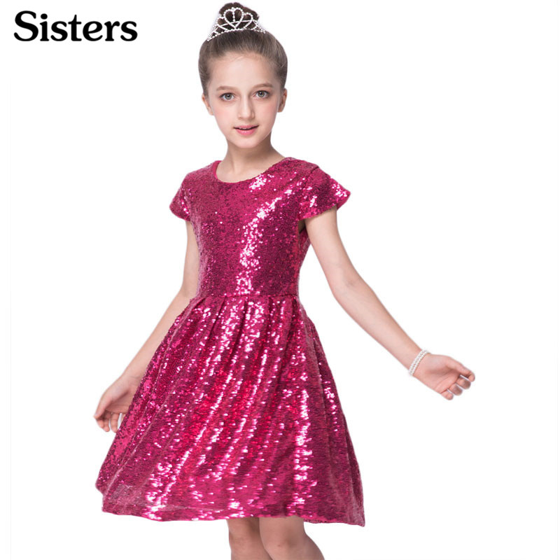 SISRERS 2018 INS Fashion Girls Dress Sequin Short Sleeve Dress Party Dress Shiny Princess Boutique Clothing Golden Rose Red