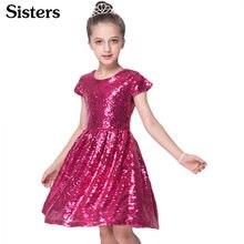 a70ff25a18 Sisters 2018 INS moda dziewczyny sukienka z cekinami sukienka z krótkim  rękawem sukienka na imprezę błyszczące