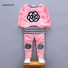 LAKAKSTY Children's Clothing Set Autumn Spring Long Sleeve Baby Girl Tracksuits Kids Girls Clothes Sweatshirts+Pants Suit 2pcs