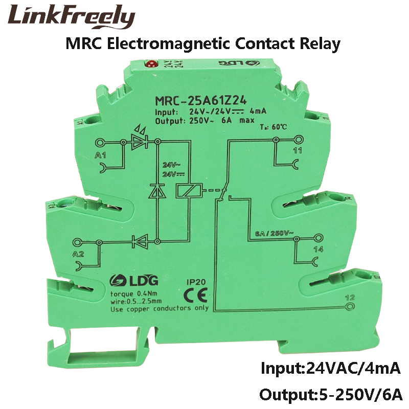 MRC 25A61Z24 10pcs PLC Programmable Board Relay Module 24V AC Input 6A 250VAC/DC Output Electromagnetic Contact Relay Din Rail-in Relays from Home Improvement    1