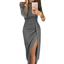 Winter Women High Split Slash Sexy Dress