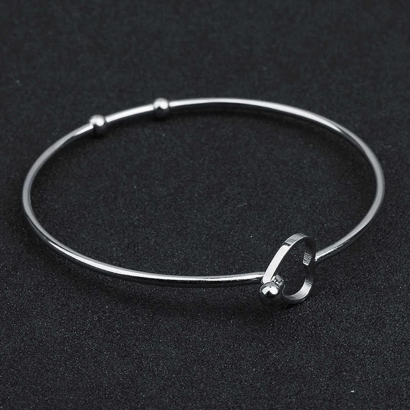 DIY bracelet material Adjustable Stainless Steel Bracelet Bangles blank 2pcs Stainless Steel Love Heart Bracelet