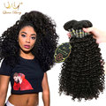 4 Шт. Перуанский Странный Вьющиеся Наращивание Волос 7а Дешевые Хорошие Человеческие Волосы Необработанные Перуанский Девы Волос Deep Вьющиеся Волны Связки